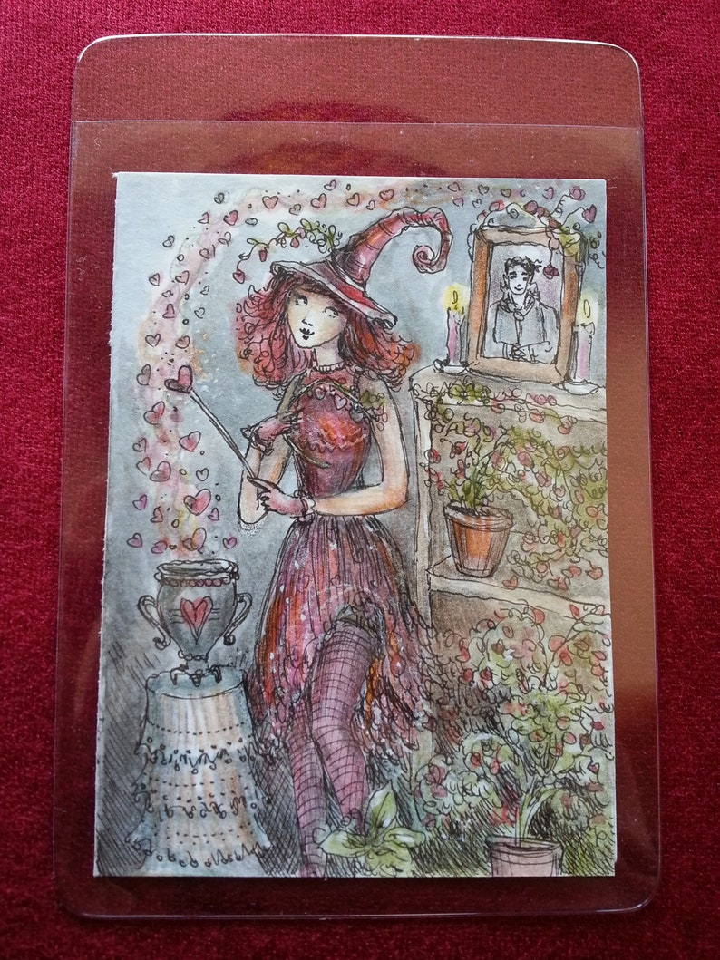 Halloween charm one-of-a-kind hearts Paulina Cassidy vampire love Original ACEO miniature watercolor witch love spell hand-painted