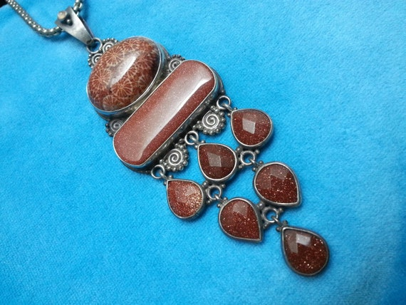 Large Sajen Sterling Silver Fossilized Coral Pendant