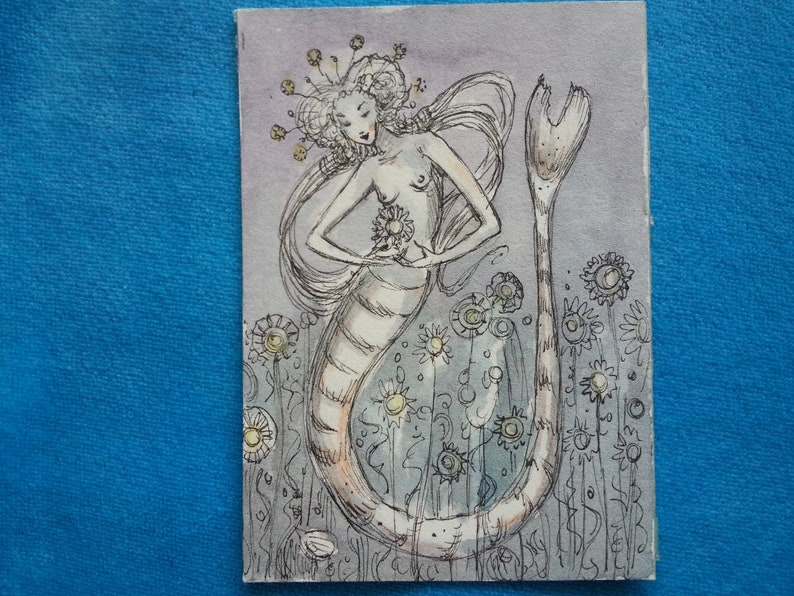one-of-a-kind mermaid fairy witch miniature watercolor Original ACEO hand-painted Paulina Cassidy magic sea garden Halloween whimsy