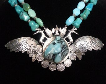 """Bold sterling silver Sweet Bird Sweetbird Studio necklace, hand-carved horse, wings, deer, bird, """"in riding a horse freedom borrow we"""" motto"""