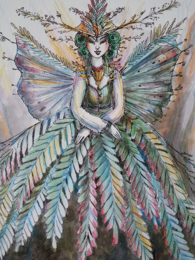 miniature watercolor butterfly wings fairytale whimsy Limited Edition 22 ACEO fern fairy witch collectible Paulina Cassidy
