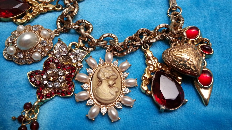 faux pearls faux cameo red crystals crystal flower Unique heart vintage charm bracelet puffy engraved heart colorful impressive 7 in