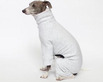 Tracksuit Dog Pajamas - Light Grey   Greyhound, whippet, pitbull, chihuahua +