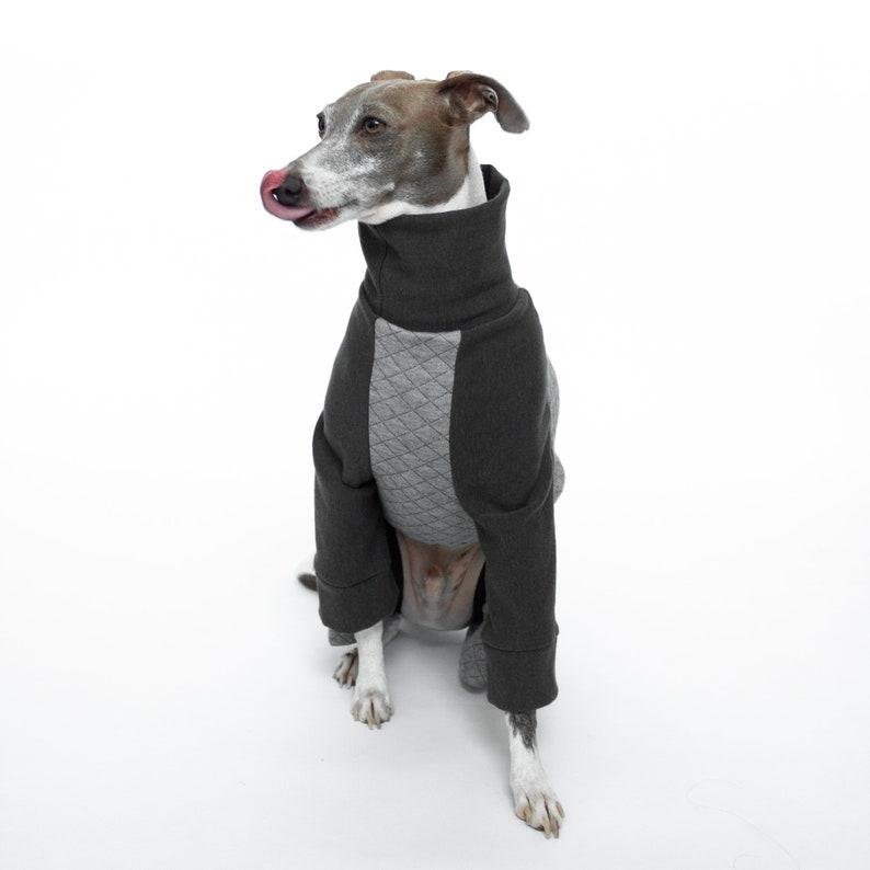 greyhound pajamas whippet pajamas winter coat Small /& large dog pajamas pitbull pajamas Quilted Grey greyhound sweater Dog Pajamas