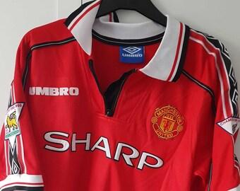 7370cf97c78 Manchester United Jersey Man U Soccer 98 99 Beckham Shirt BPL Vintage  Football