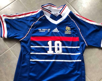 e5c7677f3 France 1998 World Cup Zidane Soccer Jersey Shirt French Vintage Football  Home