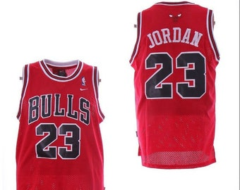 388834e7d8c Michael Jordan MJ Chicago Bulls 23 Basketball Jersey Throwback Retro Red  White