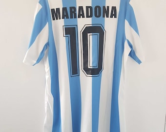 e83e074ee Argentina Soccer Jersey Maradona Shirt Vintage 1986 World Cup Football Home