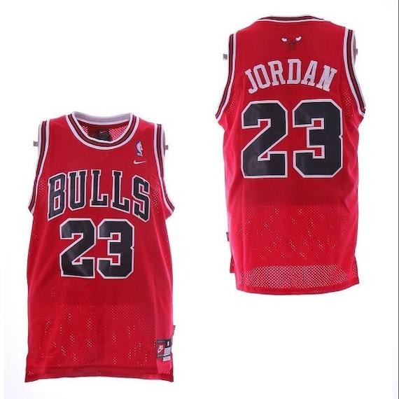 buy popular 0fb6f 44bbc Michael Jordan MJ Chicago Bulls 23 Basketball Jersey Throwback Retro Red  White