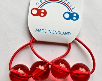Red Retro Style Hair-Bobble Elastics. Super Cool and Super Strong Hair Ties. 2af24e92d85