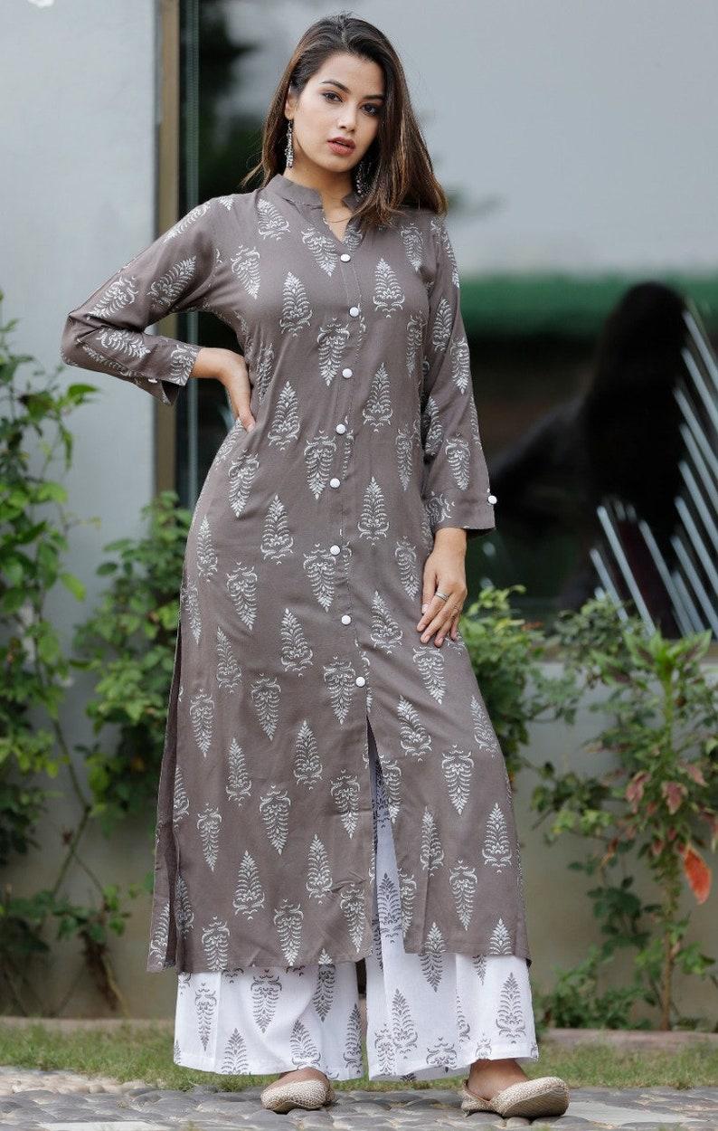 Grey Rayon Printed long Kurti with Palazzo Gypsy hippie Tunic Designer Kurta Jaipuri Printed Kurta Dress