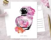 Poison Girl Postcard | Dior inspired fashion illustration | glossy art print | hand-drawn illustration | Lotti Groll Studio