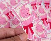 Cute Valentine Die Cut Sticker   Macaron Bouquet   Glossy White Vinyl Sticker   Lotti Groll Studio