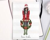 "Holiday Card ""Warm Wishes""    Christmas Card   Lotti Groll Studio"