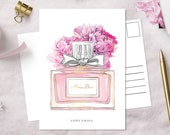 Miss Dior Postcard   Dior inspired fashion illustration   glossy art print   hand-drawn illustration   Lotti Groll Studio