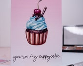 Funny Greeting Card | Cute Valentine Card | Cupcake Illustration | I Love You | For Her | For Him