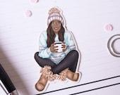 "Die Cut Sticker ""Winter Girl""   hand-drawn illustration   Lotti Groll Studio"