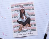 Postcard Warm Wishes | Winter Girl Collection | hand-drawn illustration | Lotti Groll Studio