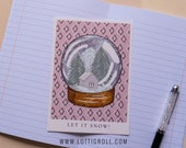 Snowglobe Postcard | Winter Girl Collection | hand-drawn illustration | Lotti Groll Studio