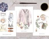 Fall Greetings Postcard Bundle | Autumn Postcard | Fall Greetings | hand-drawn illustration | watercolour art | Lotti Groll Studio