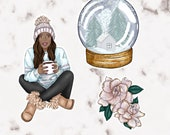 "Die Cut Sticker Set ""Winter Girl"" | hand-drawn illustration | Lotti Groll Studio"
