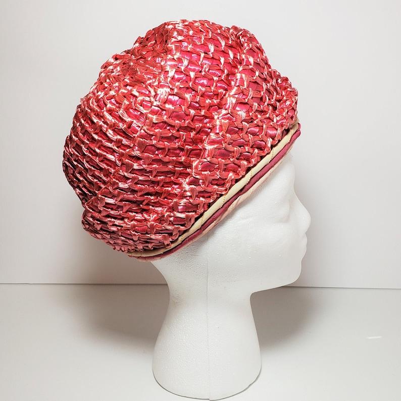 Vtg Pink Straw Rose Turban Style Cloche Hat \u2013 1960s Mid Century Modern Hat