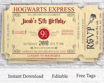 Harry Potter Invitation Party Birthday Ticket