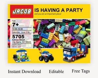 Building Blocks Birthday Invitation Boy Invite Printable Invitations Bricks Party