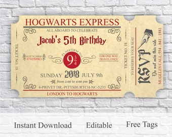Harry Potter Invitation Magical Birthday Party Invite Boy Girl Printable Wizard