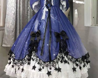 Stardust Dress Blue Black Star OP Handmade Custom
