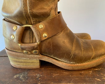 Brown Pebble Leather Zippers Buckles Vintage Fieramosca Moto Boots Suede Made in Italy