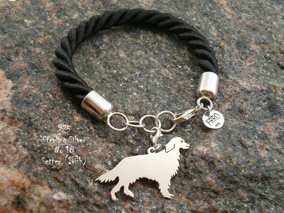 Armband mit Irish Setter Armband für sie für Geburtstag Geschenk Armband Charm Sterling Silber 925 Hund für Freunde modisch Armband Tiere