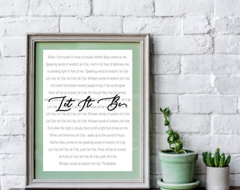 Let it be lyrics etsy song lyrics wall art digital download stopboris Images