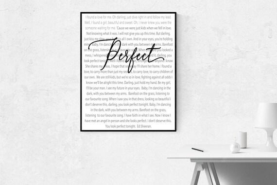 Perfect Lyrics  Ed Sheeran  Wall Art  Home Decor  Digital Print  Instant  Download  Music  Song
