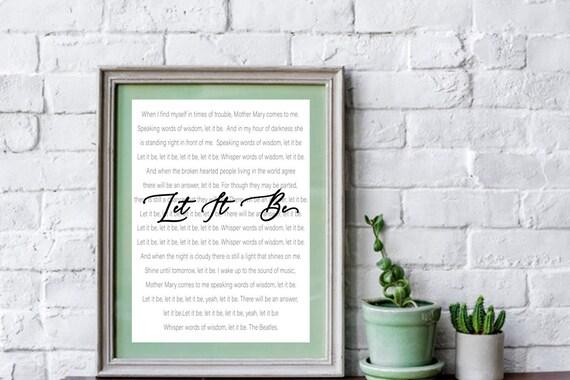 Let It Be. The Beatles. Song Lyrics Wall Art. Digital | Etsy