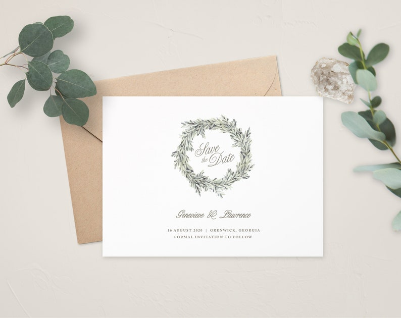 Calligraphy Wedding Rustic Wedding Wedding Save the Date Printable Save the Date Greenery Wedding Hallie Save the Date Template STD