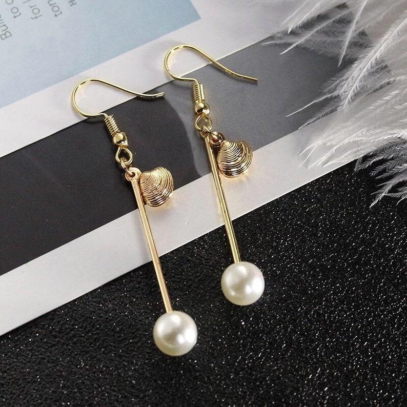 Pearl and Shell Drop Earring \u00b7 14K Gold Plated Dangling Earring \u00b7 Trendy Golden Hook Earring \u00b7 Chic Statement Earring