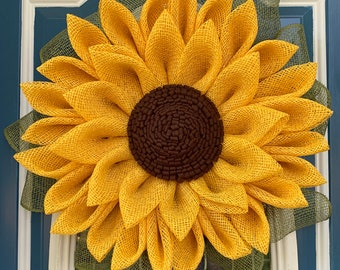 Poly burlap sunflower wreath