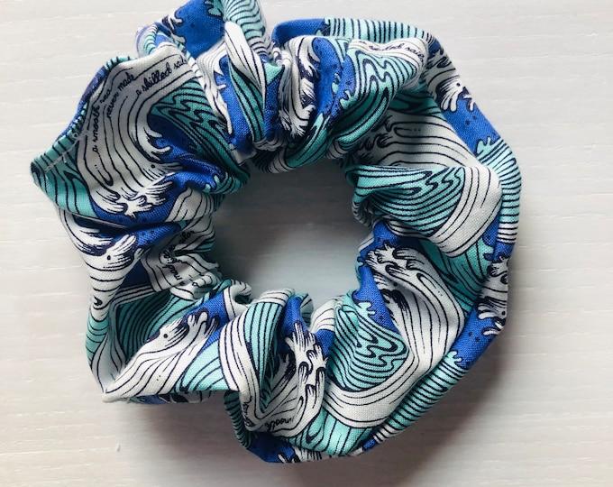 """Hair Scrunchie """"BLUE WAVES"""" / Avocado Premium Hair Scrunchie / Bijou & Birdie Scrunchies for Medium and Thick Hair"""