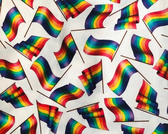 "100% Cotton ""Pride Babe"" Fabric / By the Yard / Gay Flag Fabric / LGBTQ Material"
