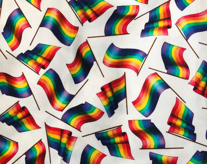 """100% Cotton """"Pride Babe"""" Fabric / By the Yard / Gay Flag Fabric / LGBTQ Material"""