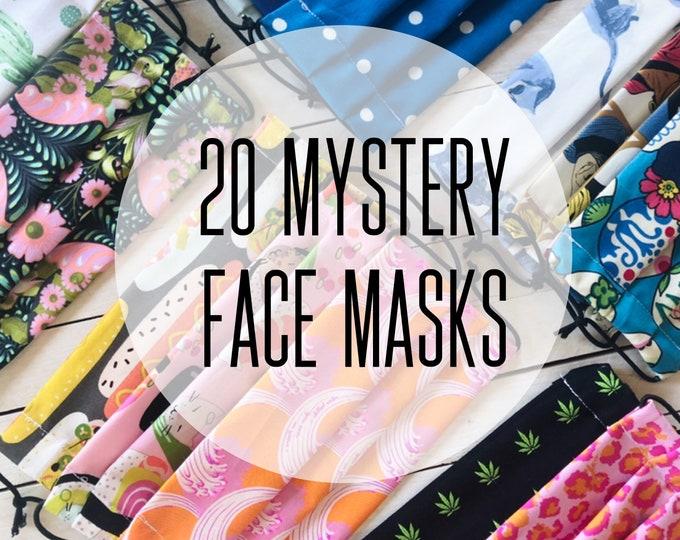 20 Mystery Face Masks / Washable / Cotton / Adjustable / Filter Pocket / Unisex / Adult / Value Sale Set / Adjustable Elastic