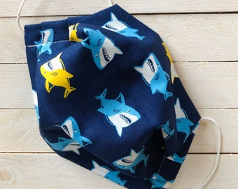 """Adjustable Face Mask """"BABY SHARK"""" / Blue and Yellow Sharks Face Mask / Pleated Mask with Elastic Ear Loops / Filter Pocket and Nose Wire"""