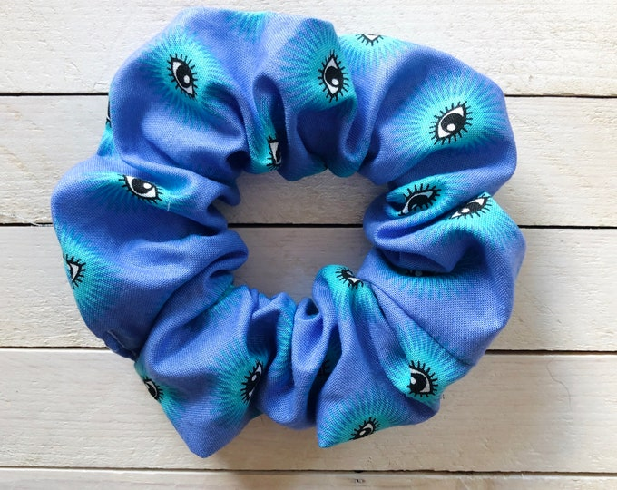 """Hair Scrunchie """"EYE SEE YOU"""" / Periwinkle Eyes Premium Hair Scrunchie / Bijou & Birdie Scrunchies for Medium and Thick Hair"""