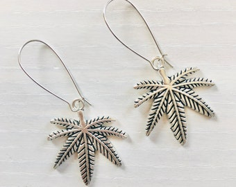 Pot Leaf Earrings / Lead & Nickel Free / Dangle Marijuana Leaf Earrings / Stoner Girl Gifts / Cute 420 Accessories