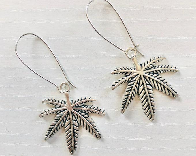 Pot Leaf Earrings / Lead & Nickel Free / Dangle Marijuana Leaf Earrings / Stoner Girl Gifts / Cute 420 Accessories