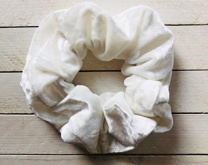 "Crushed Velvet Hair Scrunchie ""AOMORI"" / White Velvet Premium Hair Scrunchie / Bijou & Birdie Scrunchies for Medium and Thick Hair"