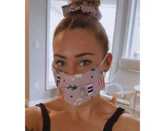 """Face Mask & Scrunchie Set """"CATS AND PLANTS"""" / Matching Hair Tie and Face Mask Set / Hair Scrunchies and Mask / Filter Pocket and Nose Wire"""