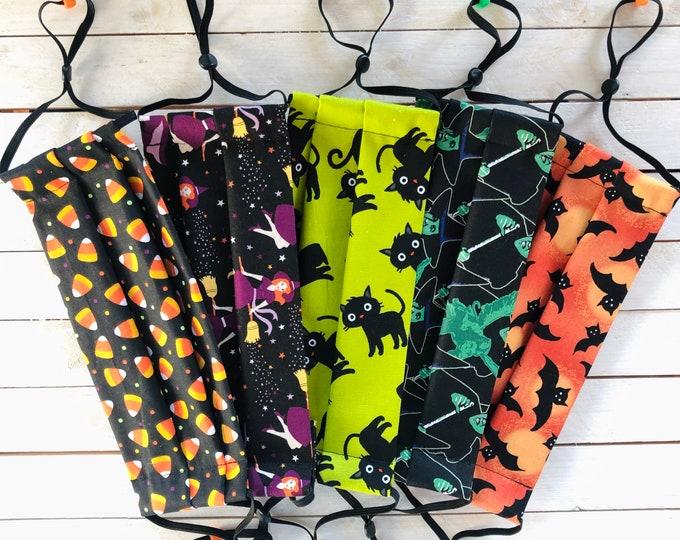 Spooky Set Halloween Adjustable Face Masks / 5 Cotton Masks / Washable / Adult / Elastic / Filter Pocket / Nose Wire