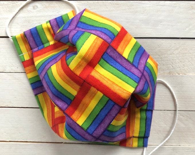 "Adjustable Face Mask ""RAINBOW WEAVE"" / LGBTQ Rainbow Face Mask / Pleated Mask with Elastic Ear Loops / Filter Pocket and Nose Wire"
